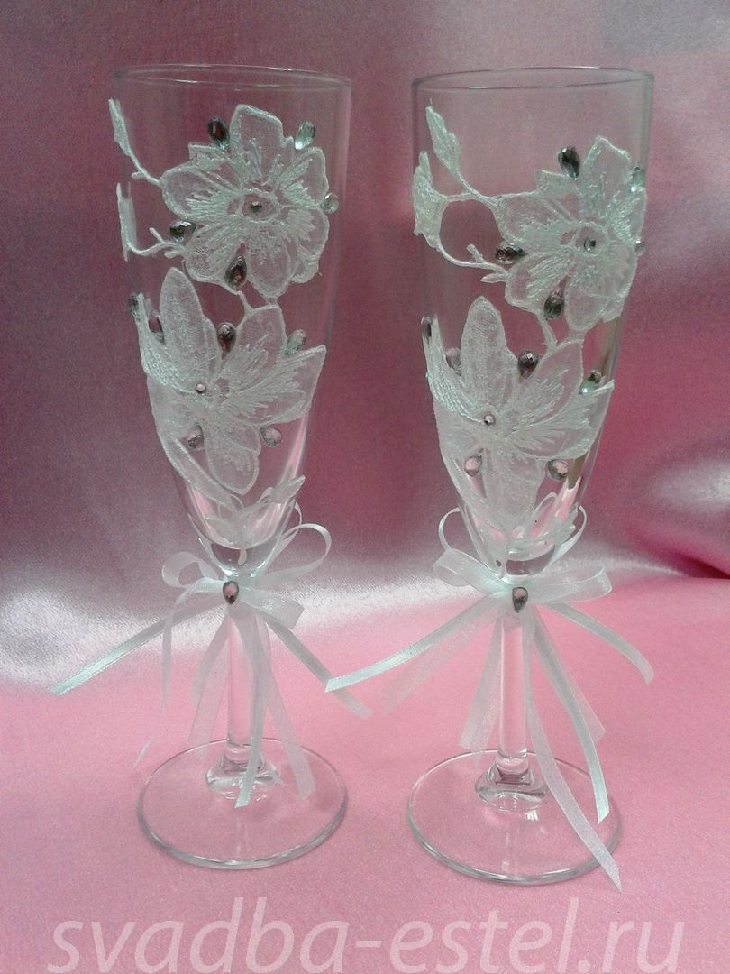 Красивый бокал для невесты своими руками 59