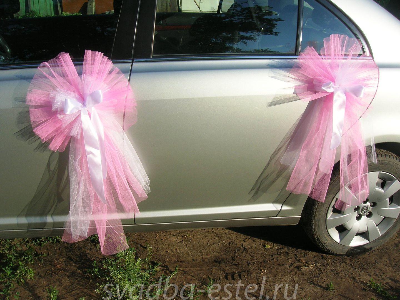 Свадебные украшения для машины из фатина своими руками